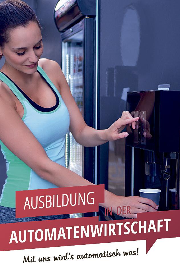 Eine Frau lässt sich am Automaten ein Getränk ausschenken
