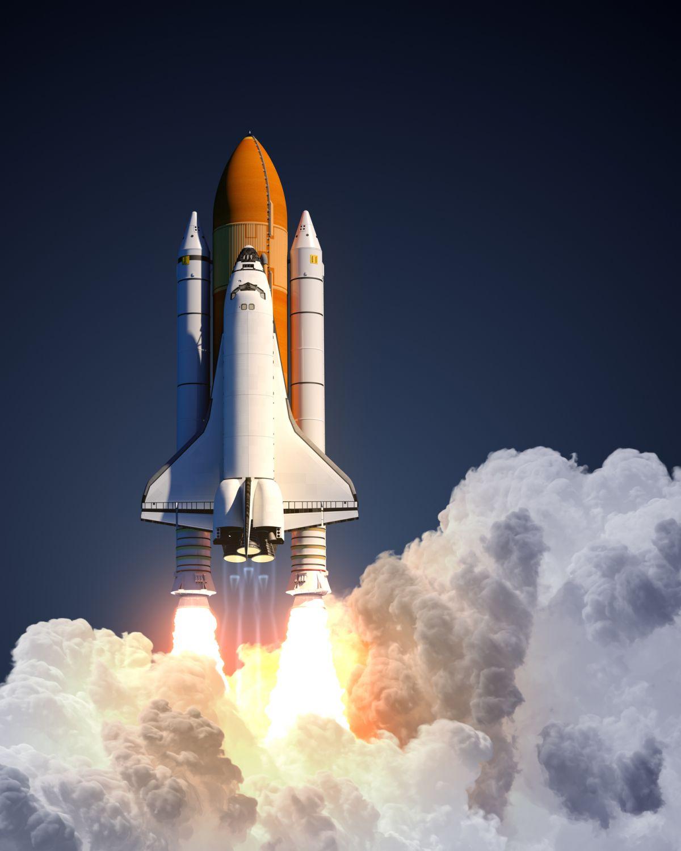 Eine Rakete steigt in den Himmel auf. Thema: Career Journey