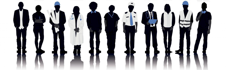 Schematische Darstellung von Männern und Frauen in Arbeitskleidung. Thema: Arbeitslosigkeit